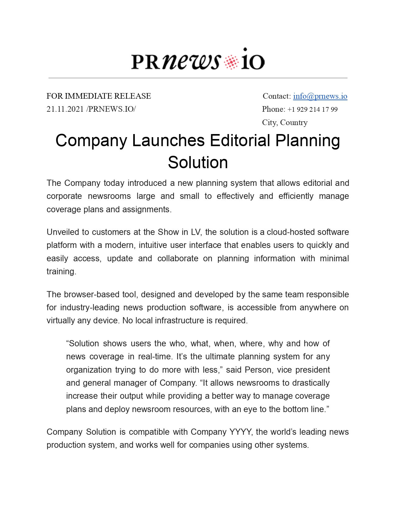 Ap Style Press Release Example