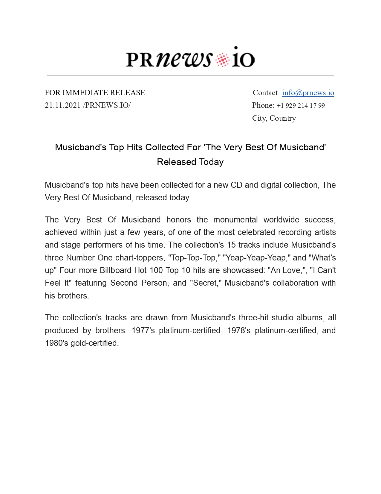 Band Press Release Example