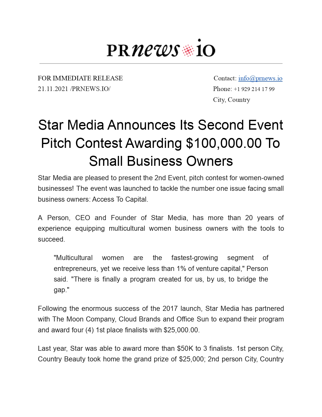 Business Press Release Example