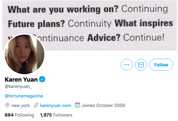 Top Business Journalists Karen Yuan.